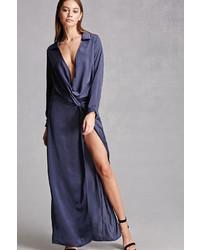 Forever 21 Satin Knotted Slit Maxi Dress