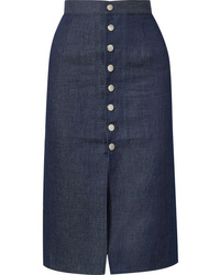 Navy Slit Midi Skirt