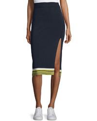 Sheridan ribbed high slit pencil skirt navy medium 451900