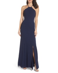 Navy Slit Silk Evening Dress