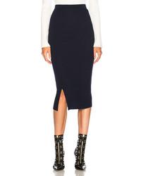 Victoria Beckham Compact Rib Signature Skirt In Blue