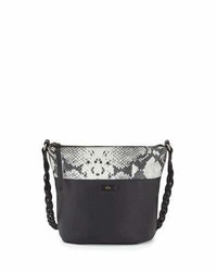 Foley + Corinna Cable Embossed Trim Leather Bucket Bag Blackdiamond Snake