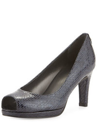 Navy Snake Leather Pumps