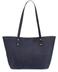 Neiman Marcus Snake Embossed Shopper Tote Bag Navy