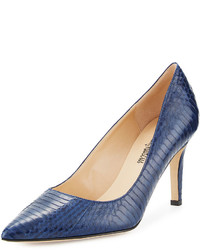 Neiman Marcus Cissy Snakeskin Pointed Pump Blue