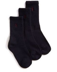 Ralph Lauren Boys Three Pair Casual Sport Crew Socks