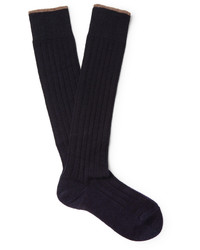 Brunello Cucinelli Contrast Tipped Ribbed Cashmere Over The Calf Socks