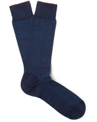 Ermenegildo Zegna Herringbone Cotton Blend Socks