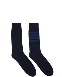 Thom Browne Navy 4 Bar Mid Calf Socks