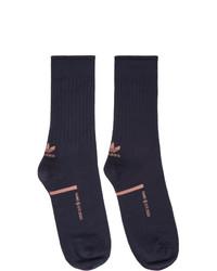 Oamc Navy Adidas Originals Edition Logo Socks