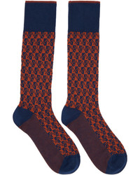 Prada Navy And Orange Pixel Socks