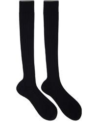 Brunello Cucinelli Navy Cotton Long Socks