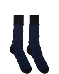 Issey Miyake Men Navy Geometric Socks