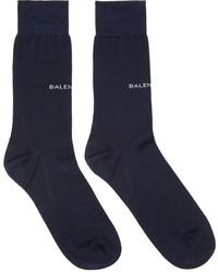 Balenciaga Navy Logo Socks