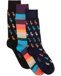 Paul Smith Three Pack Multicolor Mixed Socks