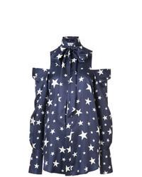 Navy Star Print Button Down Blouse