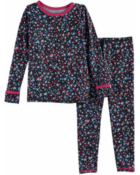 Cuddl Duds Toddler Girl 2 Pc Printed Base Layer Top Pants Set