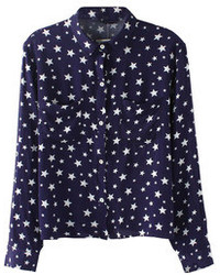 All over stars print twin pockets blouse medium 74759