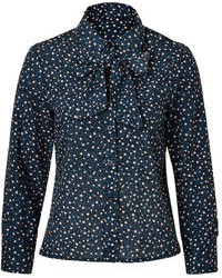 See by Chloe See By Chlo Cotton Star Print Tie Neck Blouse