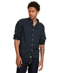 Navy Star Print Long Sleeve Shirt