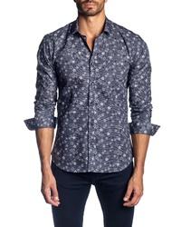 Jared Lang Trim Fit Star Print Sport Shirt