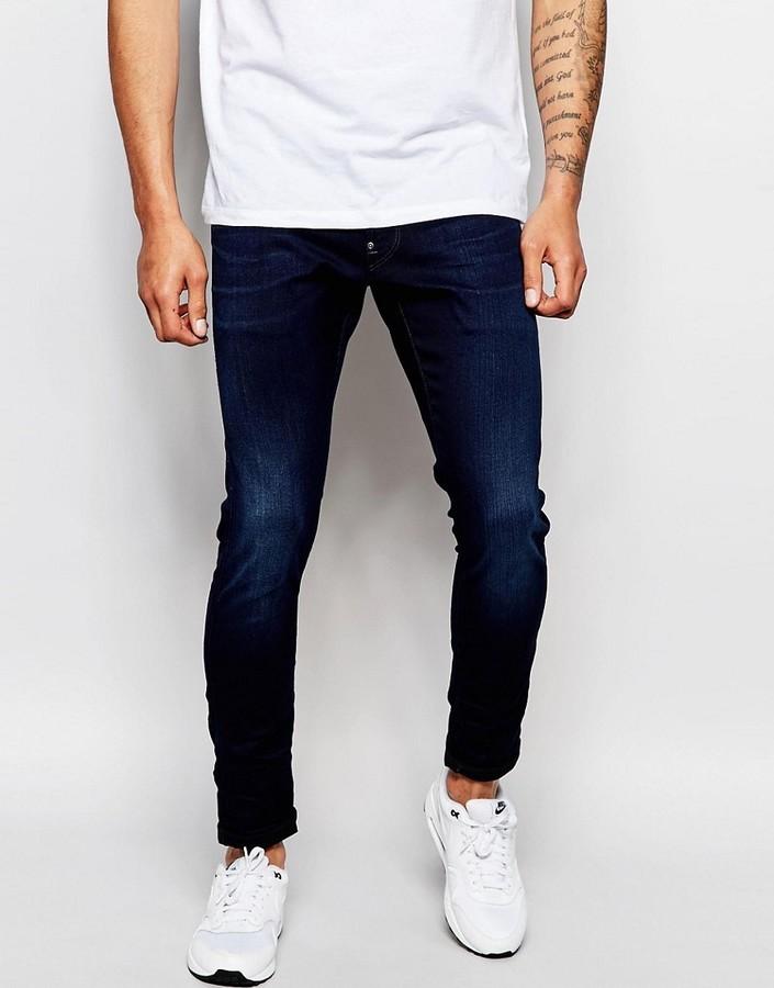456365ef19b ... G Star G Star Jeans Defend Super Slim Skinny Fit Slander Indigo  Superstretch Dark Aged ...