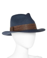 August Hat Co. Inc. Straw Fedora Navy