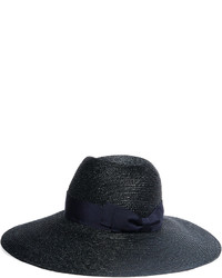 Lanvin Grosgrain Trimmed Straw Hat Midnight Blue
