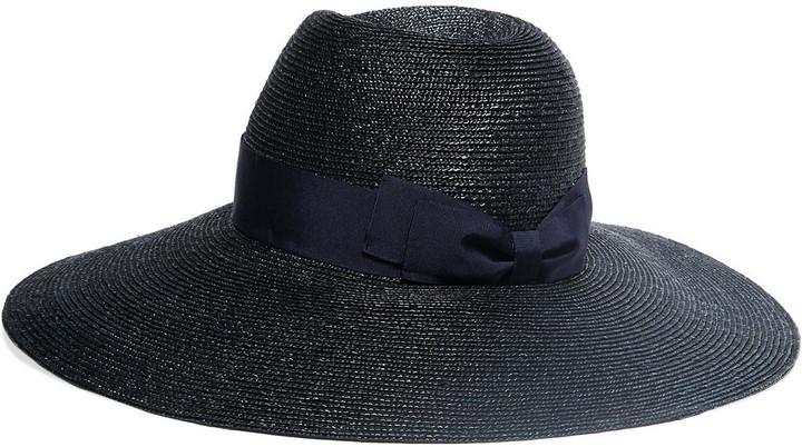 Lanvin Grosgrain Trimmed Straw Hat Midnight Blue