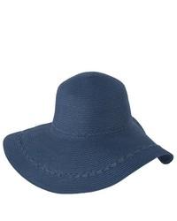 Luxury Lane Blue Wide Brim Straw Floppy Sun Hat With Braided Trims