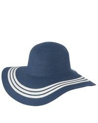 Luxury Lane Blue Wide Brim Straw Floppy Sun Hat With Stripe Accent