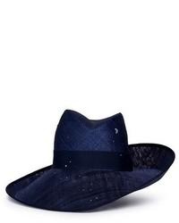 Piers Atkinson Swarovski Crystal Straw Combo Fedora Hat