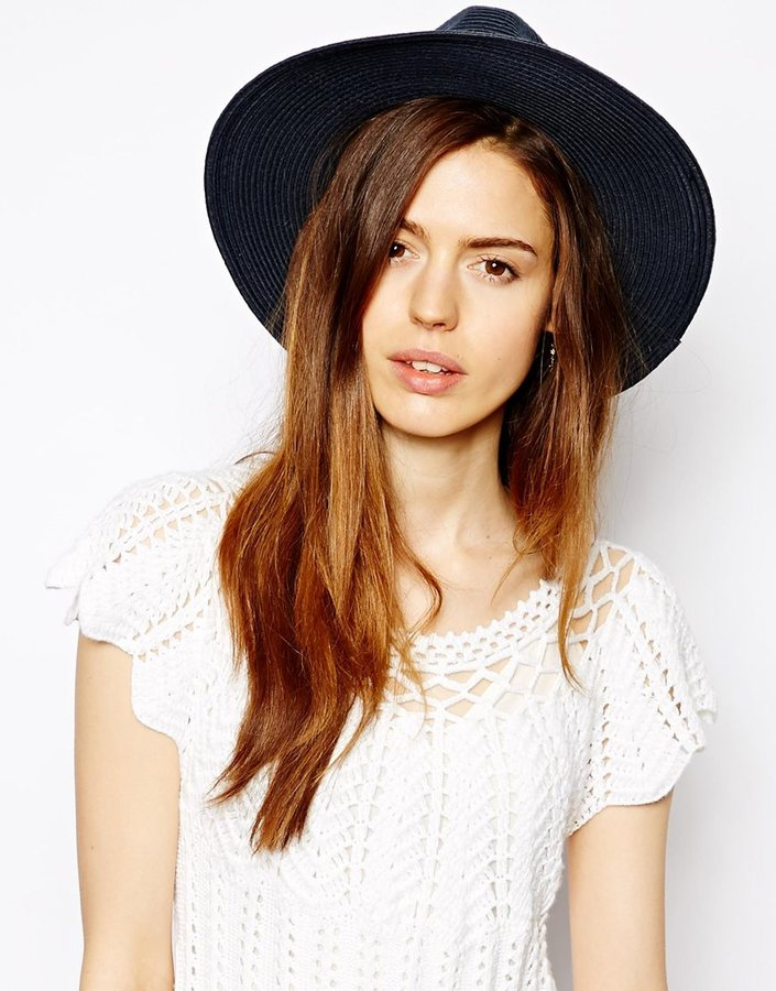 ... Asos Straw Fedora Hat With Skinny Band Navy aaefe0322