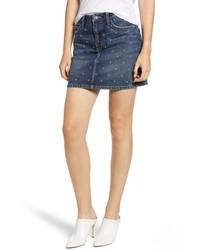 Current/Elliott The Five Pocket Studded Denim Miniskirt