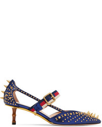 Navy Studded Leather Pumps
