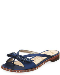 Sam Edelman Dariel Studded Satin Bow Flat Thong Sandal