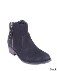 Navy Studded Suede Ankle Boots