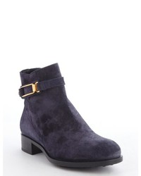 Tod's Blue Suede Gold Buckle Side Zip Ankle Boots