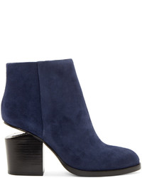 Alexander Wang Blue Suede Notched Heel Gabi Ankle Boots