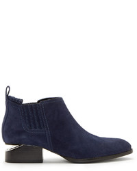 Alexander Wang Blue Suede Notched Heel Kori Ankle Boots