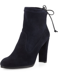 Stuart Weitzman Catch Suede Bootie With Ankle Tie Navy