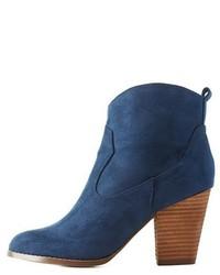 Charlotte Russe Chunky Heel Western Ankle Booties
