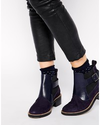 Asos Collection Align Leather Suede Mix Ankle Boots