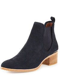 Donald J Pliner Diaz Perforated Suede Ankle Boot Azul Navy
