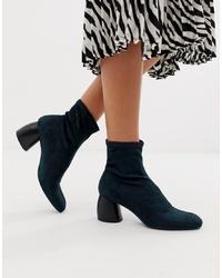 Bershka Faux Suede Sock Boot In Indigo Blue