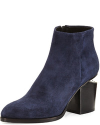 Alexander Wang Gabi Lift Heel Suede Ankle Boot Lake Navy