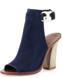 Tory Burch Gemini Link Open Toe 100mm Bootie Royal Navy