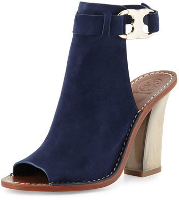 258386b67 ... Suede Ankle Boots Tory Burch Gemini Link Open Toe 100mm Bootie Royal  Navy ...