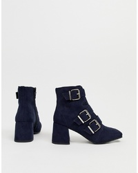 New Look Heeled Boot In Navy