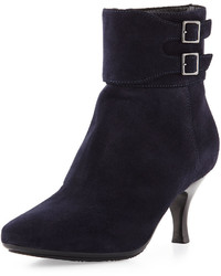 Aquatalia Melissa Double Buckle Suede Weather Resistant Bootie Navy